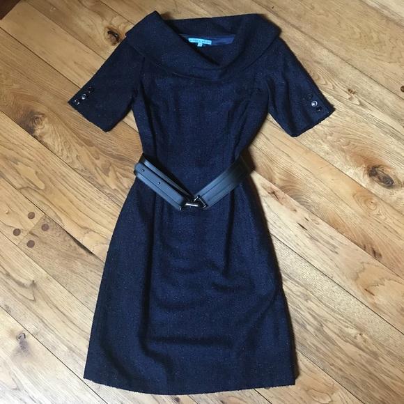 1dec4e805517b ANTONIO MELANI Dresses   Cowl Collar Navy Dress Size 4 Dress   Poshmark